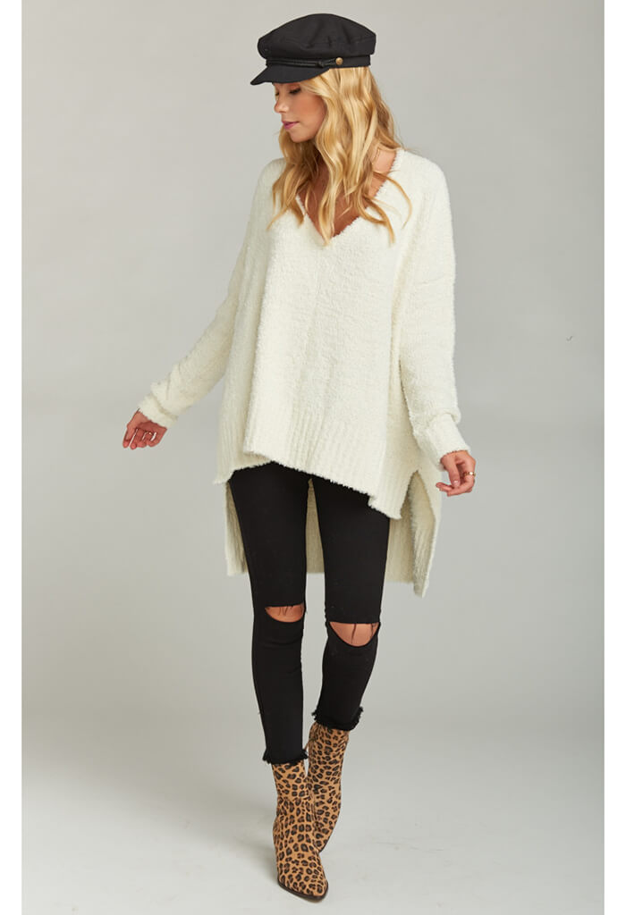Hug Me Sweater ~ Coconut Cream Fuzzy Knit
