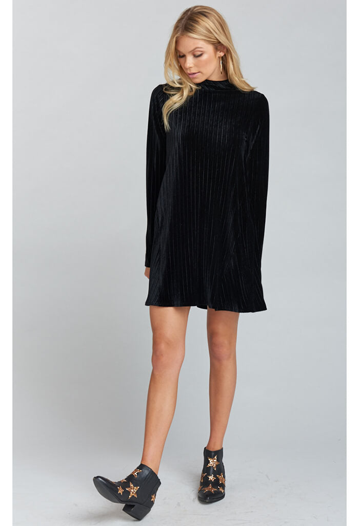 Tammy Turtleneck Dress ~ Black Pleated Velvet