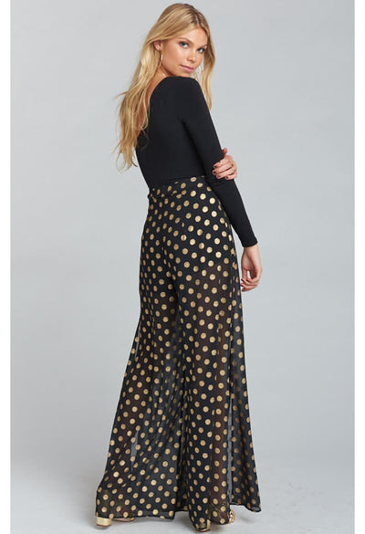 Campbell High Slit Pants ~ Cosmic Dot Gold