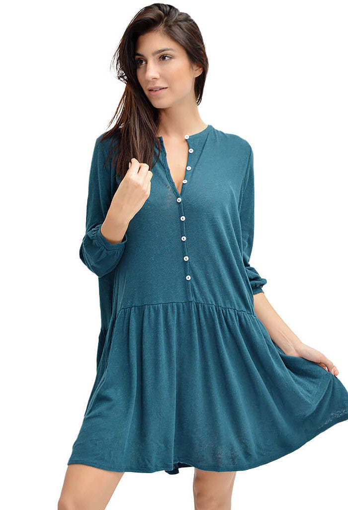 Free People teal button up dress-front