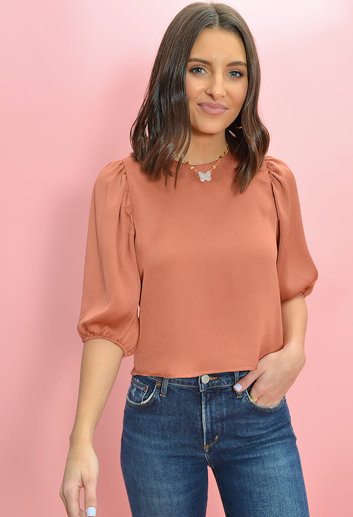 BB Dakota Sleeve Me in Charge Top in Terracotta-front