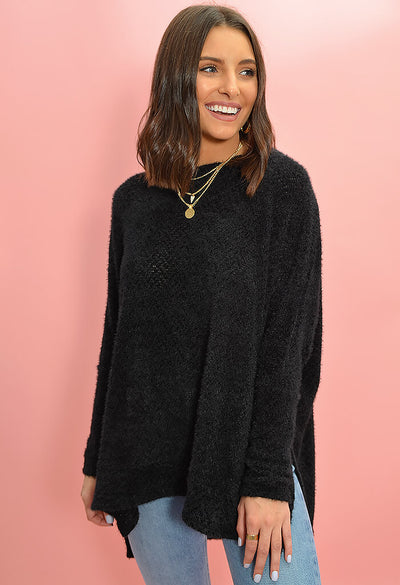 KK Bloom Boutique Cozy Tunic in Black-front
