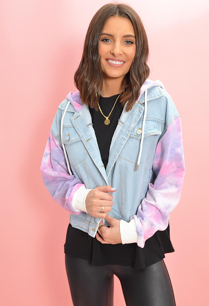 KK Bloom Boutique Tie Dye Camp No Where Jacket-hood up