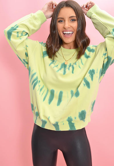 Tie Dye Pistachio Party Sweatshirt-front
