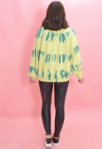 Tie Dye Pistachio Party Sweatshirt-back