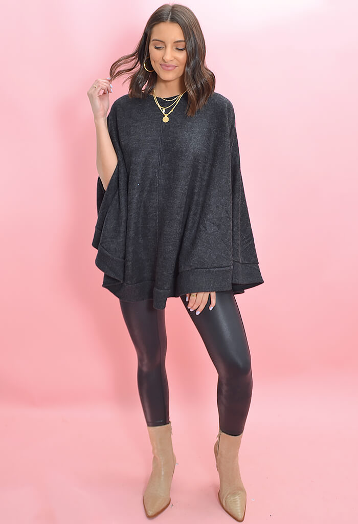 KK Bloom Boutique Brit Brit Poncho in Charcoal-full length