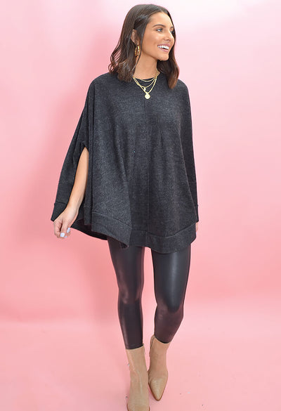 KK Bloom Boutique Brit Brit Poncho in Charcoal-front