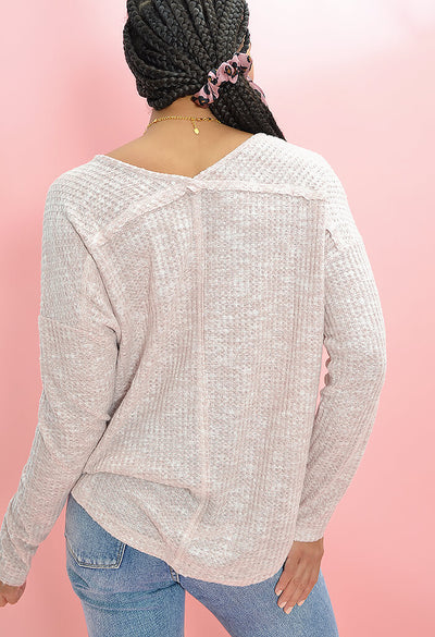 KK Bloom Boutique Poppy Knit Top in Blush-back