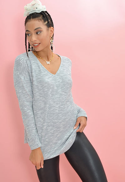 KK Bloom Boutique Poppy Knit Sweater in Heather Grey-front