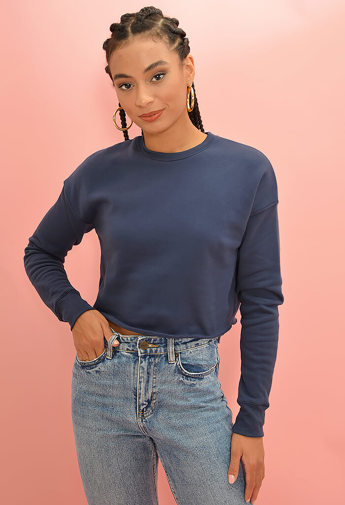 KK Bloom Boutique Navy Baby Cropped Sweater-front