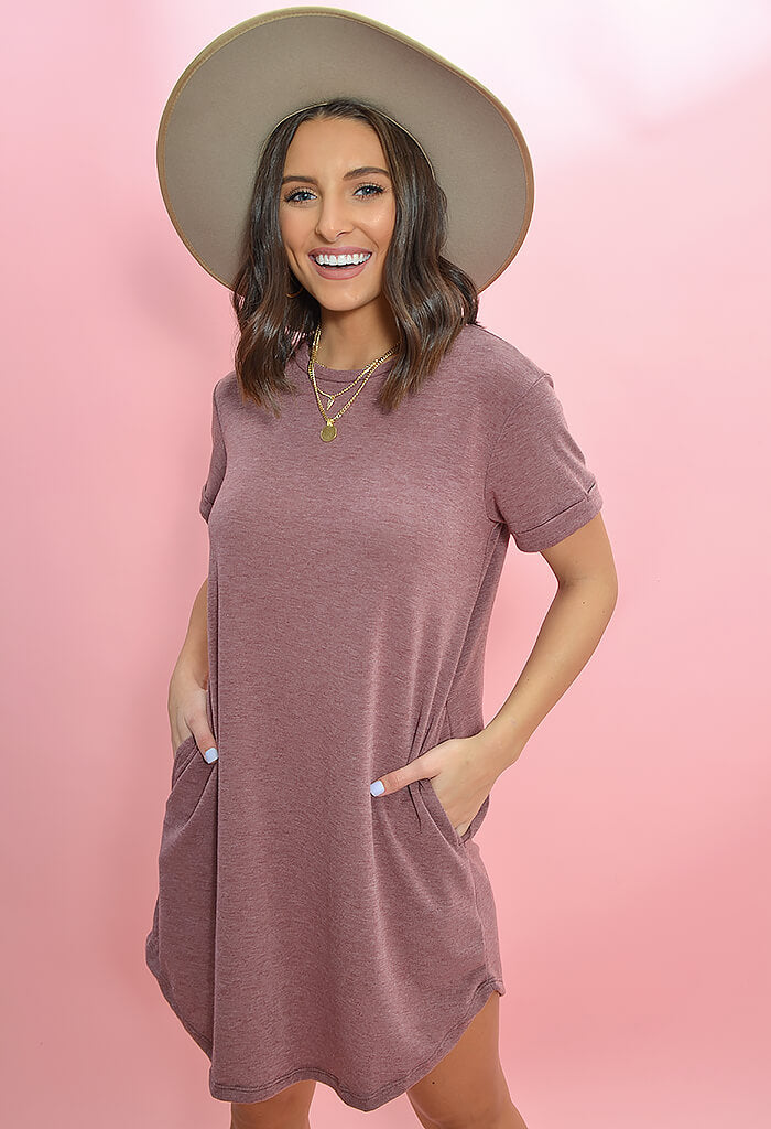 KK Bloom Boutique Morgan Tee Dress in Wine-front
