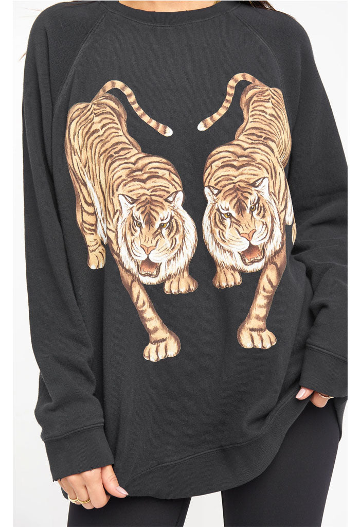 Show Me Your Mumu Simon Pullover-Dancing Tiger Graphic-zoom