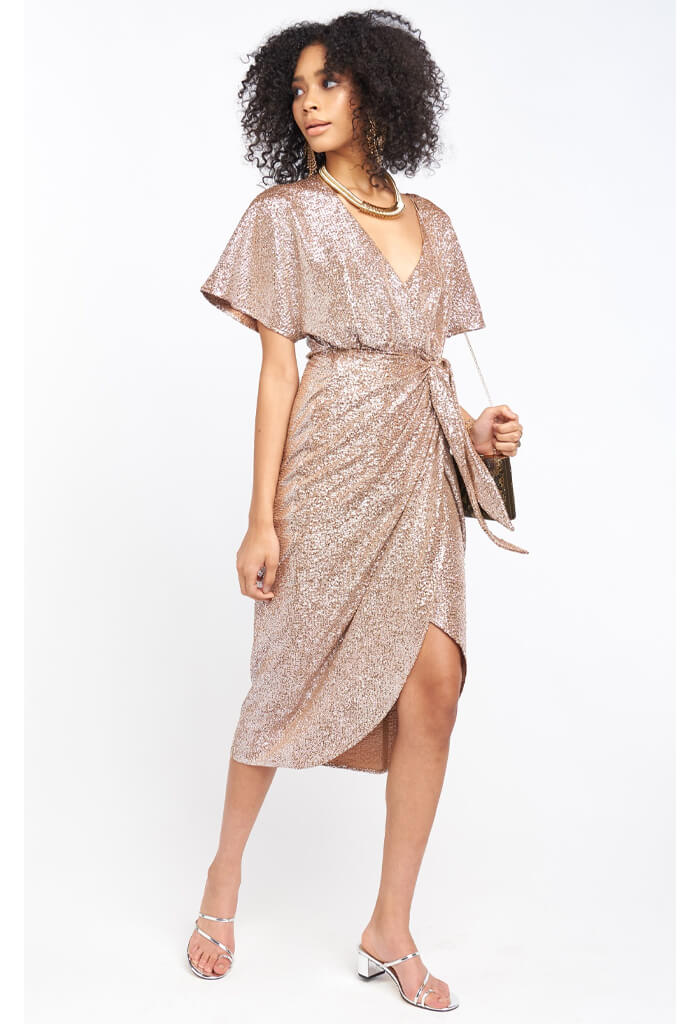 Show Me Your Mumu Kimora Wrap Dress in Silver Confetti-front