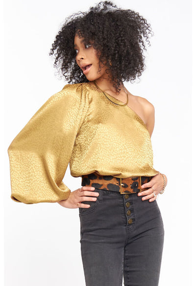 Show Me Your Mumu Party Top in Bronze Cheetah-front