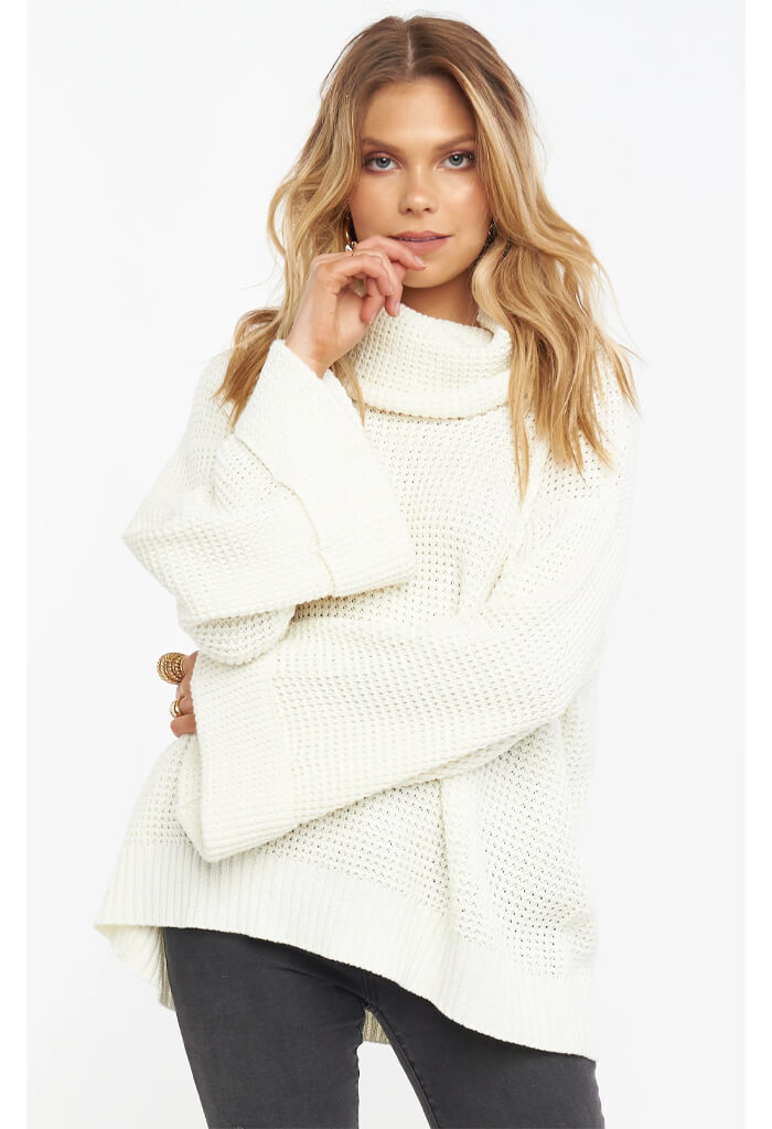 Show Me Your Mumu Hicks Sweater in Cream Waffle Knit-front