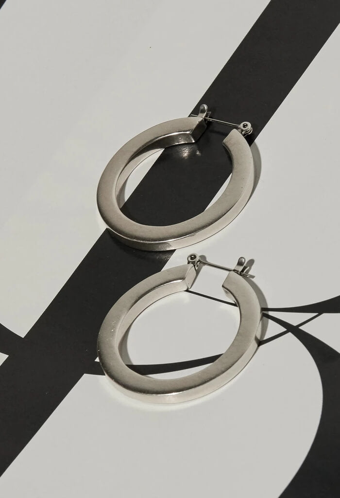 LUV AJ Celine Hoops in Silver