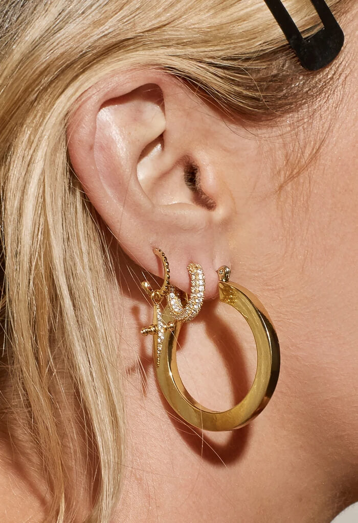LUV AJ Celine Hoops in Gold