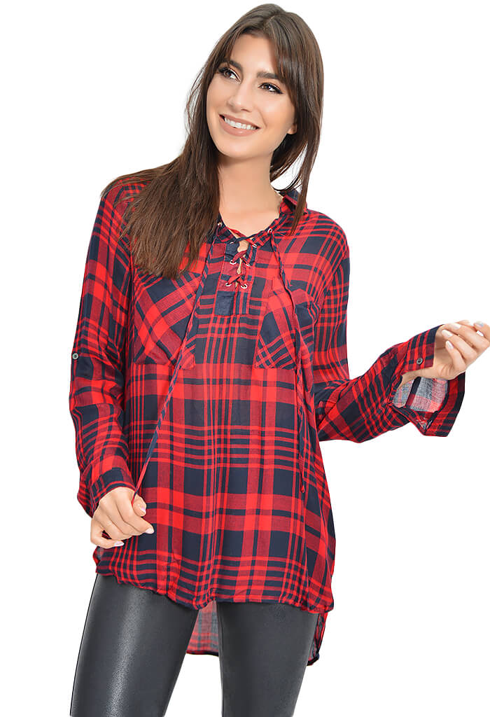 Buddy Love Emerald Plaid Top-front
