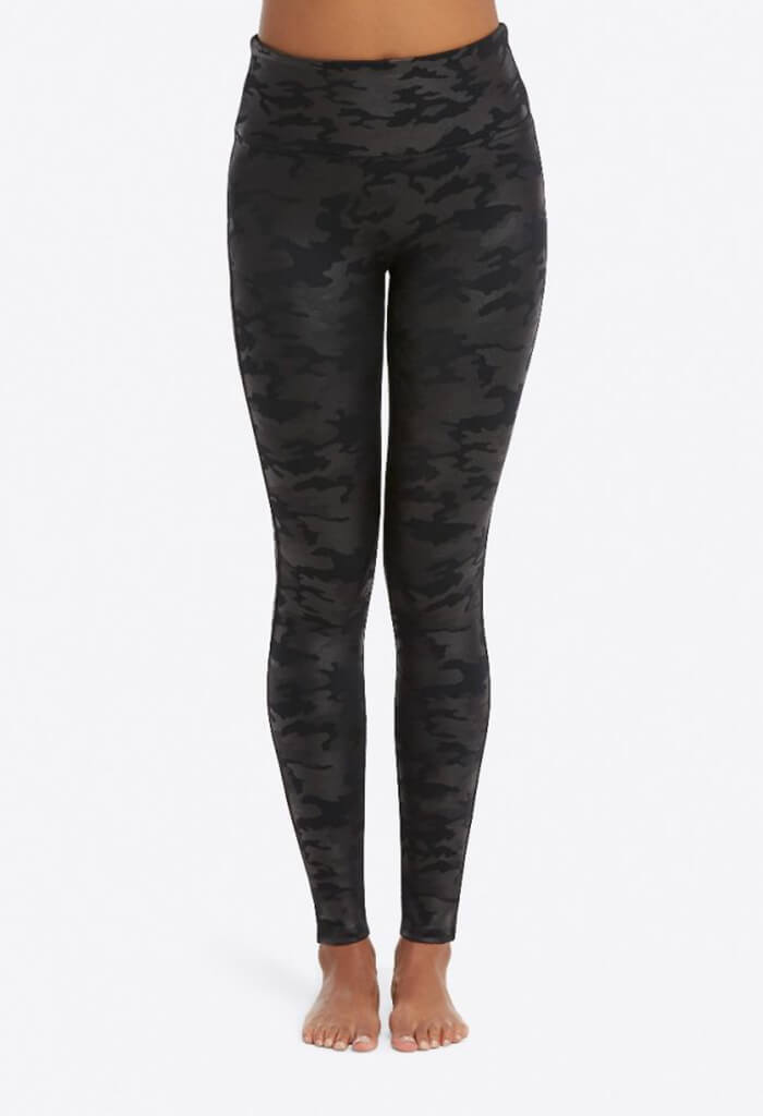 Faux Leather Leggings - Black Camo