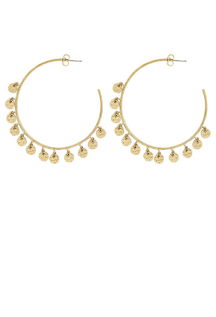 Hammered Disc Hoops - Gold