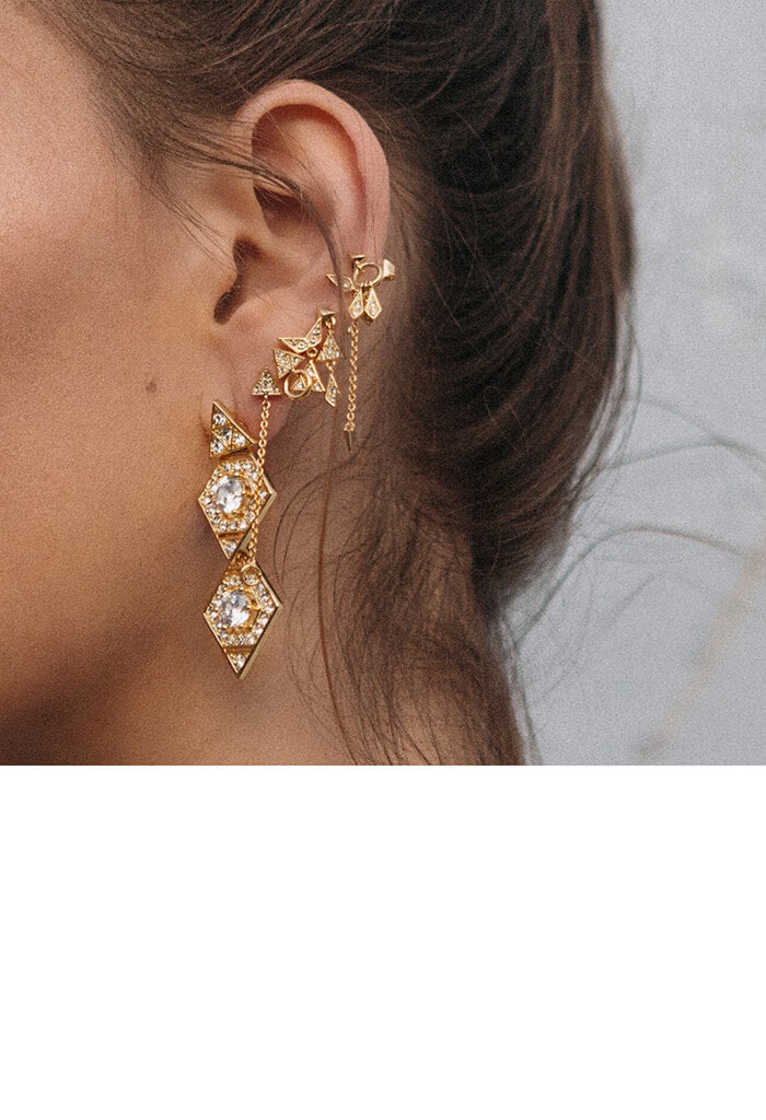 Pave Kite Mixed Earring Set - Gold