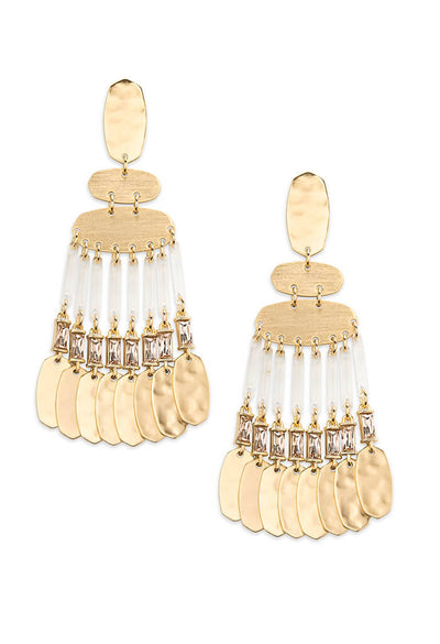Oster Gold Statement Earrings in Smoky Crystal