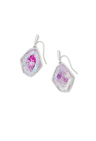 Dax Silver Drop Earrings in Amethyst Dichroic Glass