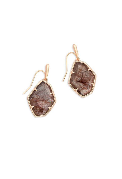 Dax Rose Gold Drop Earrings in Sable Mica