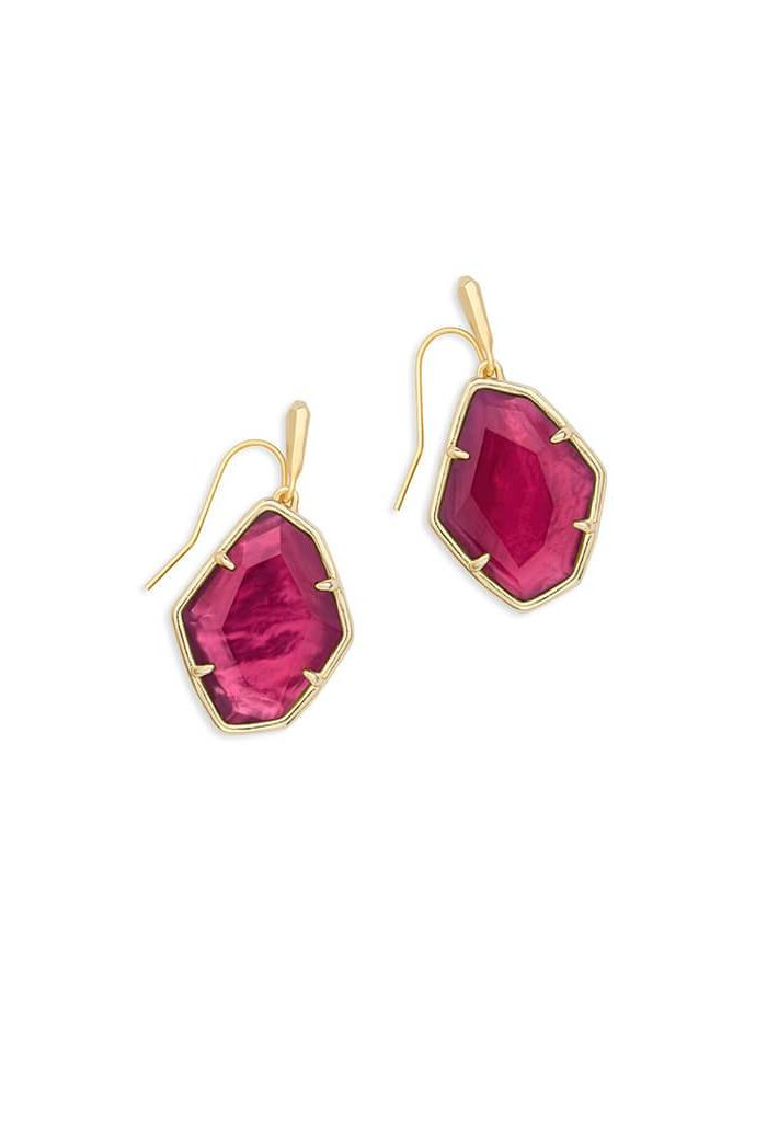 Dax Gold Drop Earrings Berry Illusion