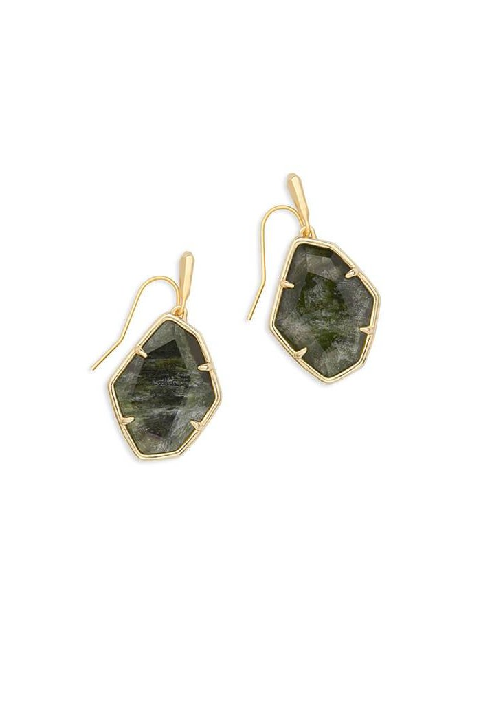 Dax Gold Drop Earrings in Sage Mica