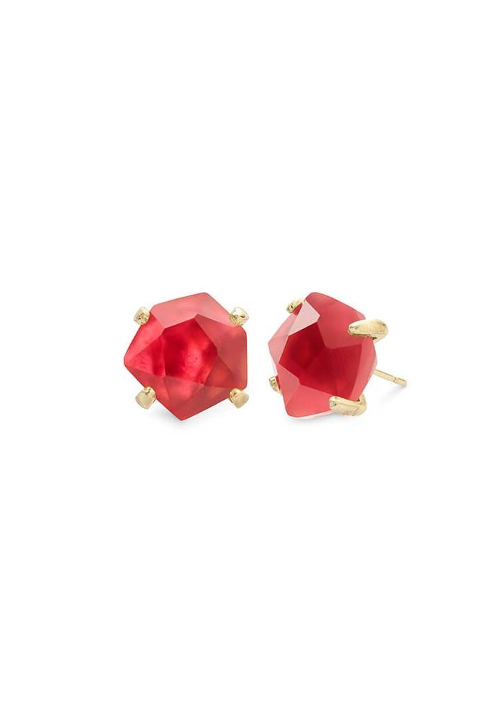 Ellms Gold Stud Earrings in Berry Illusion