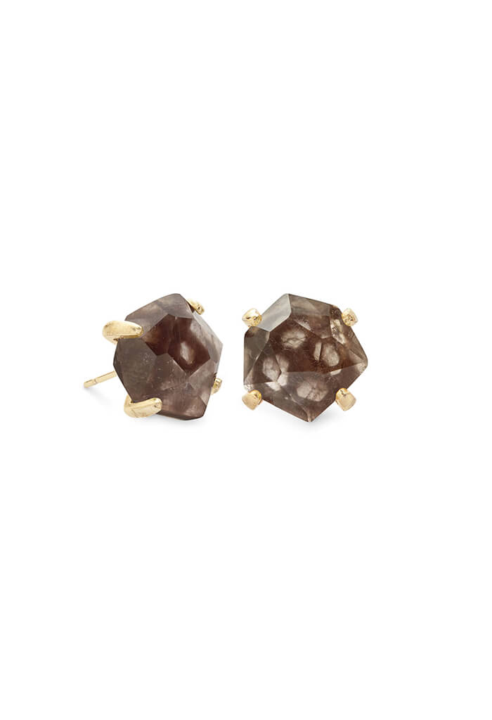 Ellms Rose Gold Stud Earrings in Sable Mica