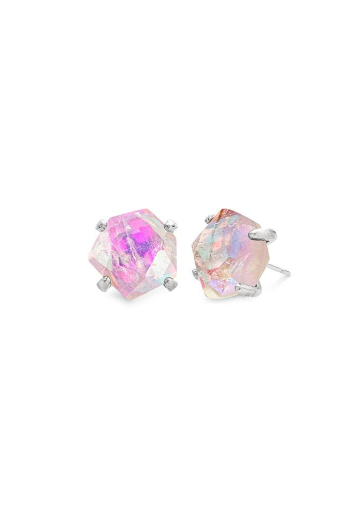 Ellms Silver Stud Earrings in Amethyst Dichroic Glass