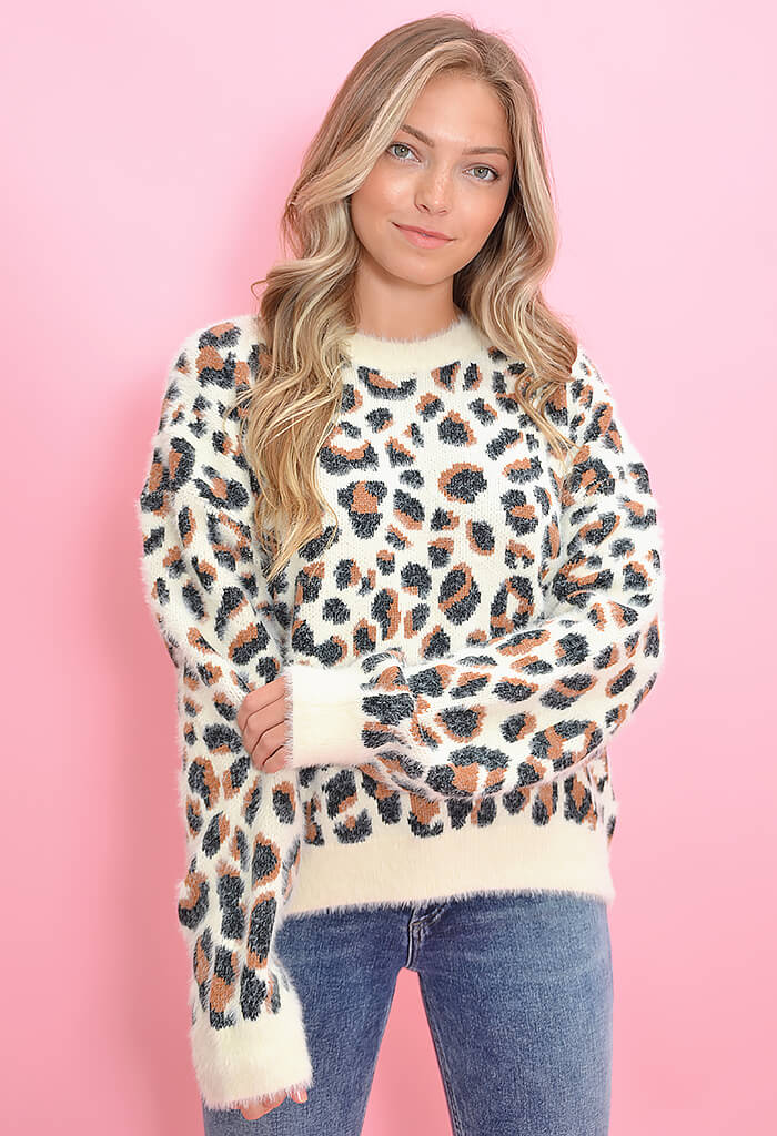 KK Bloom Fuzzy Leopard Pullover Sweater