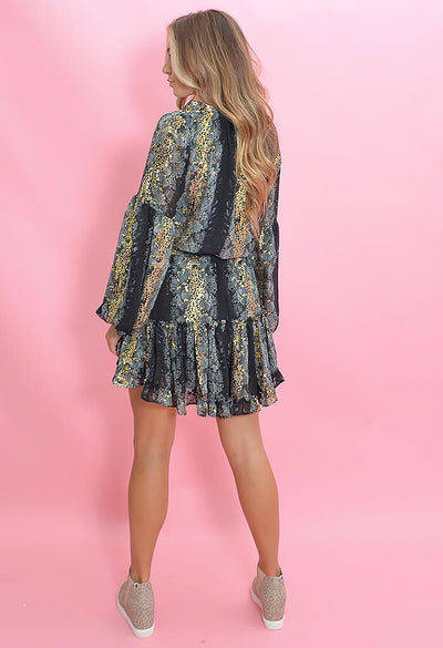 Buddy Love Zozo Smocked Mini Dress in Snake Eyes