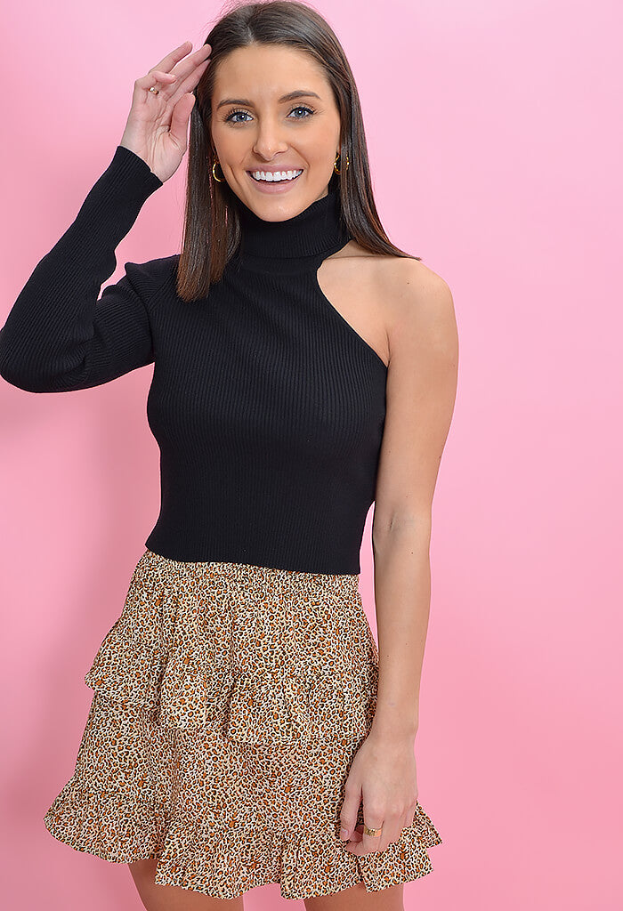 KK Bloom Boutique Carmel Ruffle Mini Skirt-Leopard