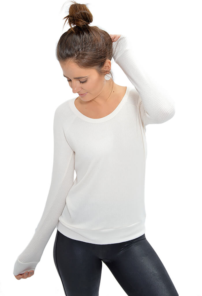Chaser White Love Rib Top-front