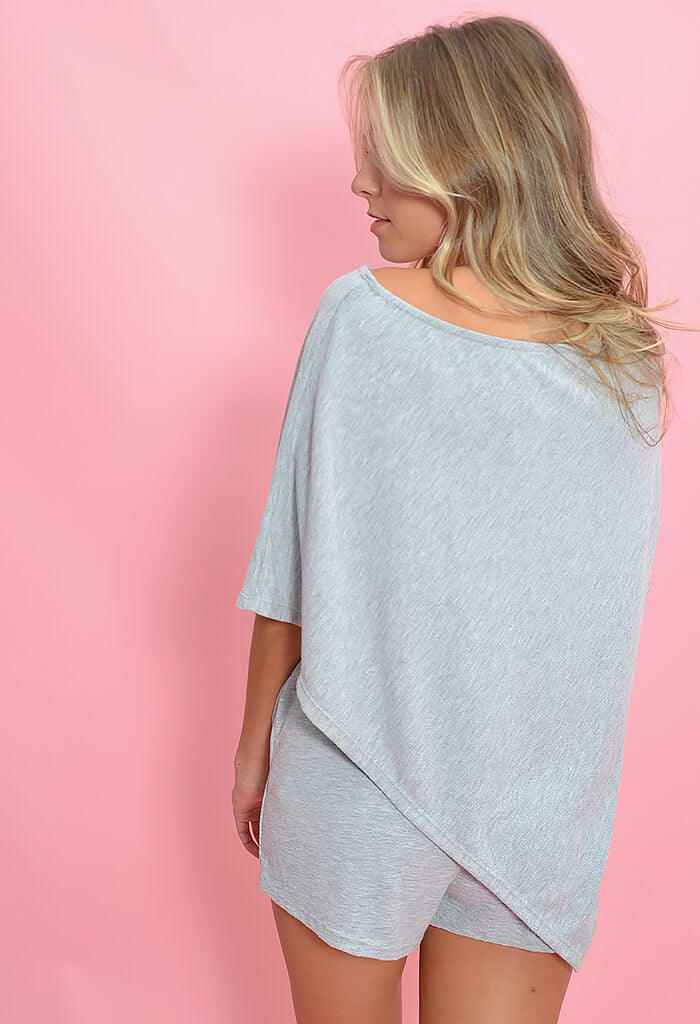 KK Bloom Michelle matching poncho set in heather grey