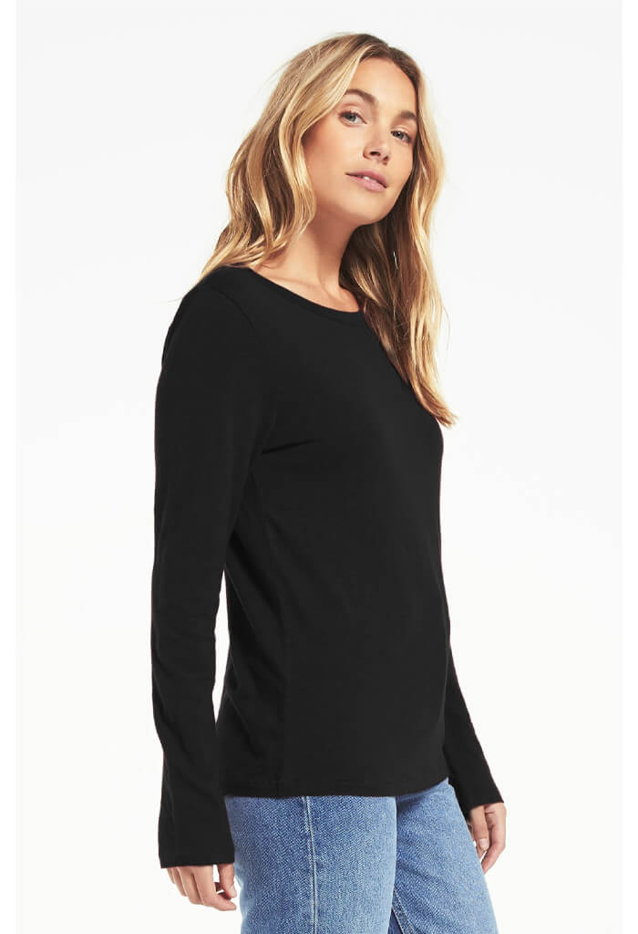 Z Supply Everyday Brushed Slub Long Sleeve in Black