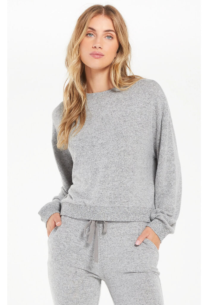 Z Supply Noa Marled Top in Heather Grey
