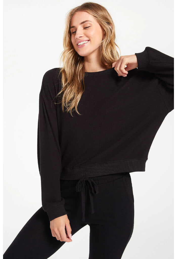 Z Supply Noa Marled Top-Black