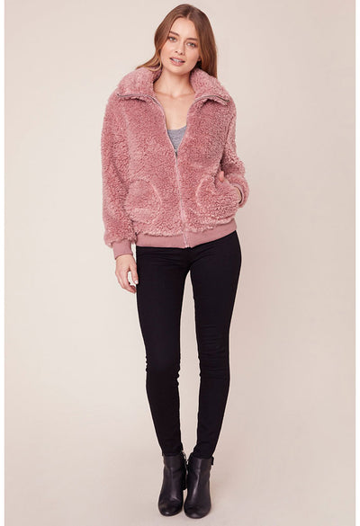 Teddy or Not Bomber Jacket-Rose Quartz