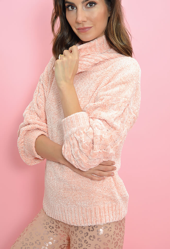 Minkpink Jane Roll Neck Knit-Baby Pink