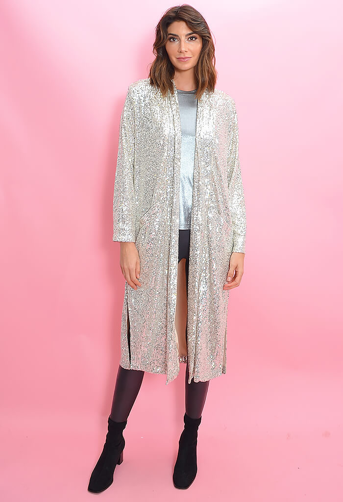 BB Dakota Glitter Bomb Duster-Silver Sequin