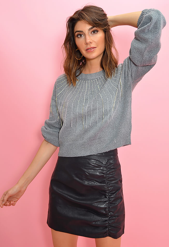 BB Dakota If You Fancy Sweater-Heather Grey