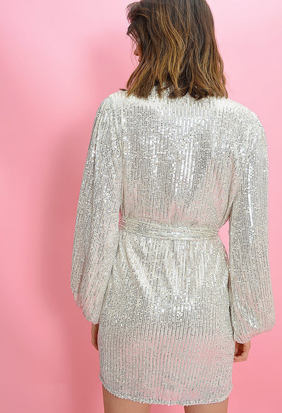 Adeline Sequin Wrap Dress-Silver