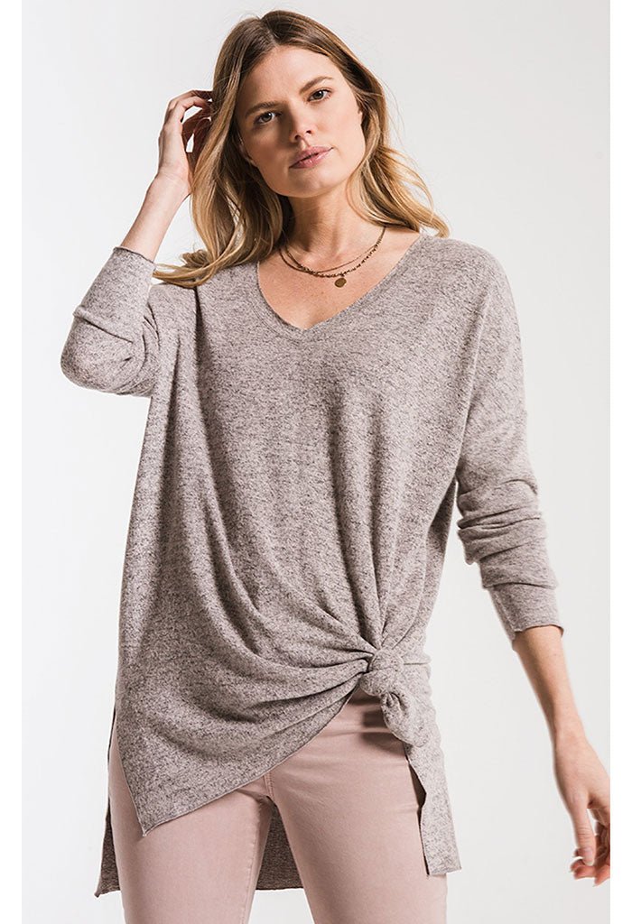 The Marled Sweater Knit V-Neck Tunic-Mushroom