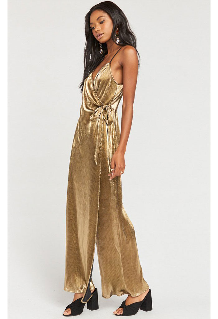 Jane Jumpsuit-Pleated Gold