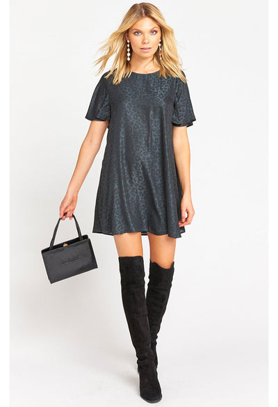Jenner Dress-Charcoal Silky Cheetah