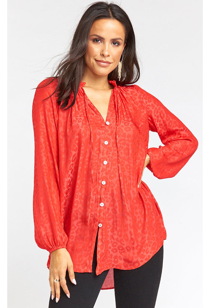 Alicia Tunic-Red Silky Cheetah
